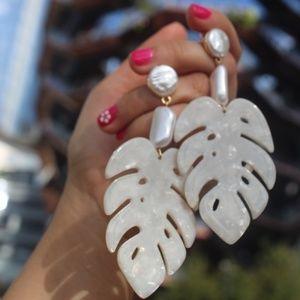 NEW Handmade Earrings | White Acrylic Leaves resin